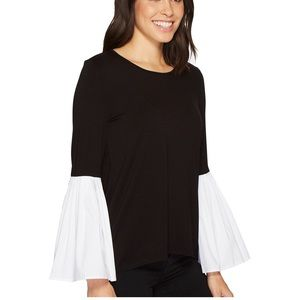 NWOT Vince Camuto Black Bell Sleeve Top Large